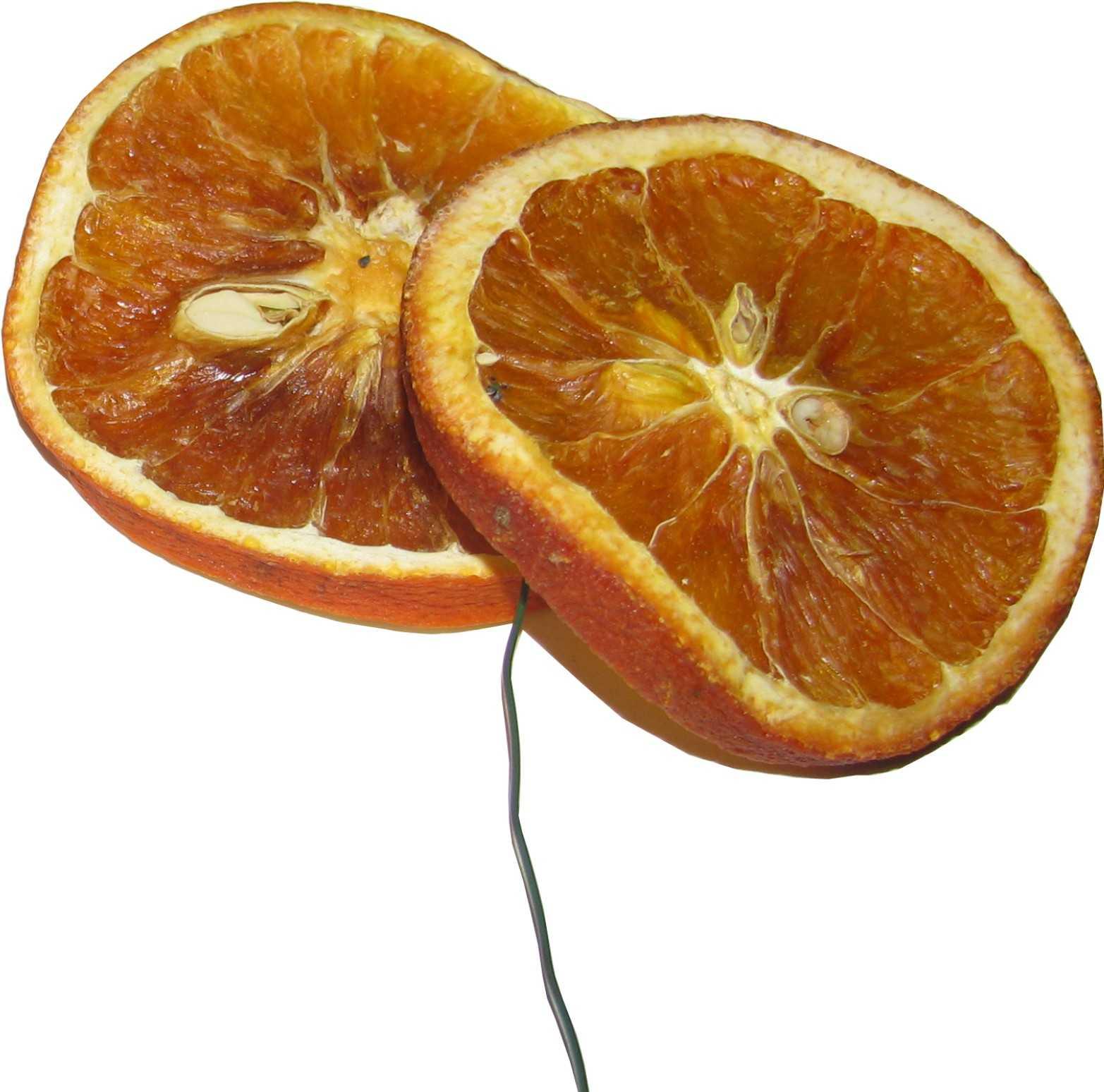 2 getrocknete orangenscheiben mit befestigungsdraht. Black Bedroom Furniture Sets. Home Design Ideas