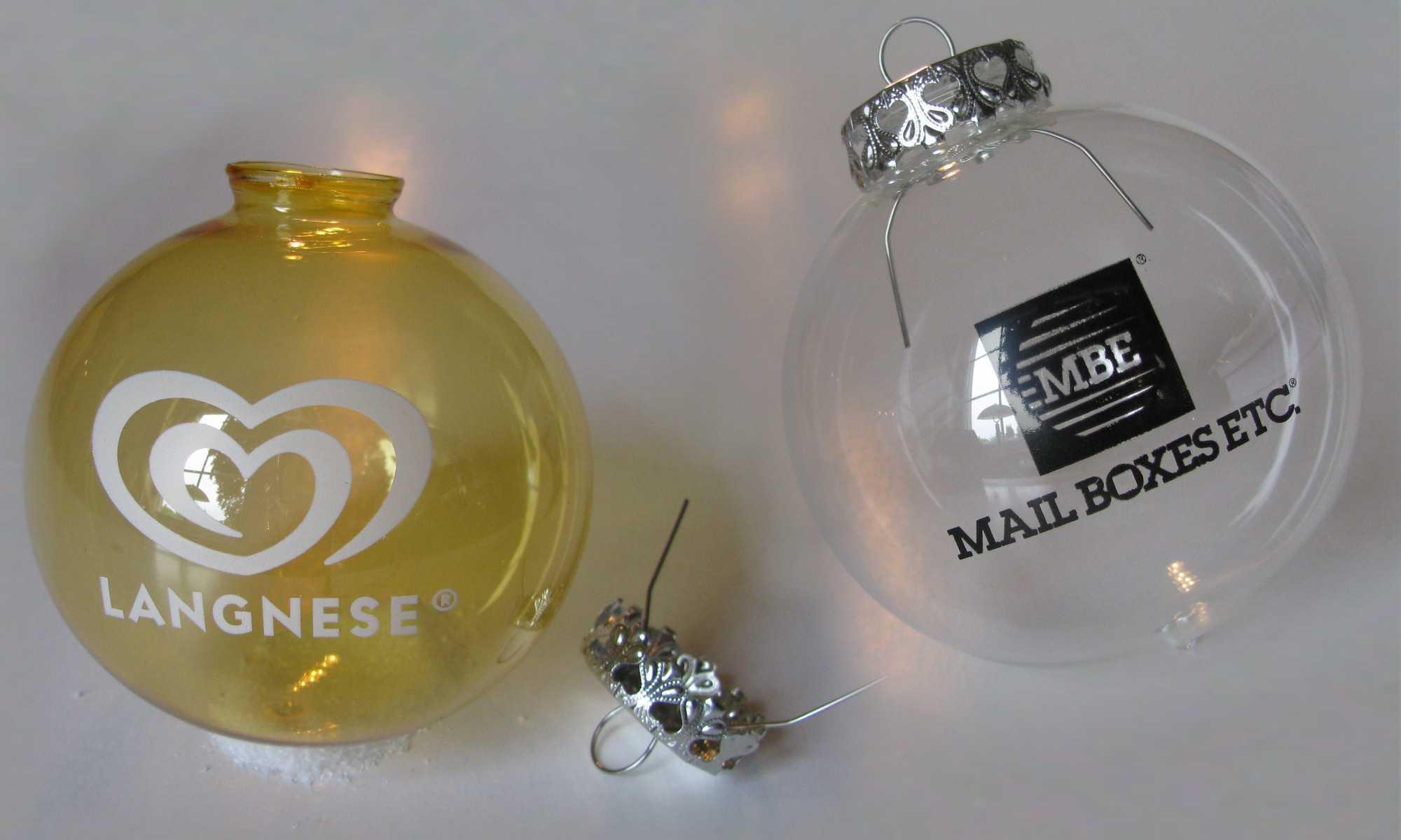 Transparente Christbaumkugeln.Transparente Weihnachtskugeln Aus Glas Mit Firmenlogo